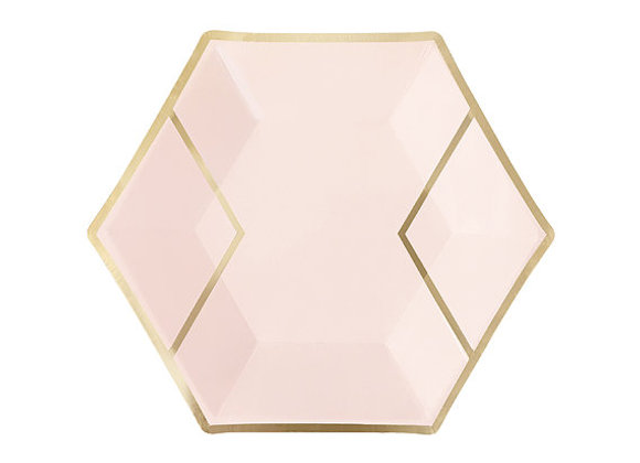 Pink and Gold Diamond Dinner Paper Plates