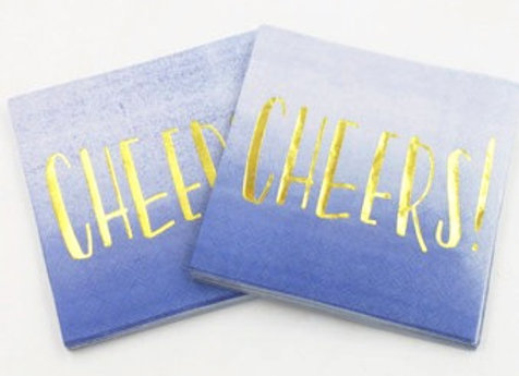 """""""Cheers"""" Blue and Gold Lunch Napkins 8ct"""