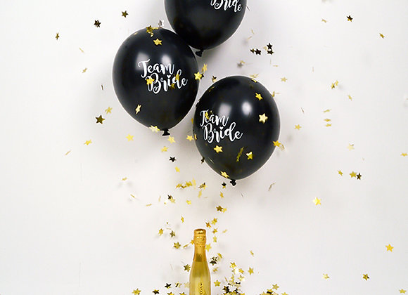 Team Bride Latex Balloons - Black 5pc