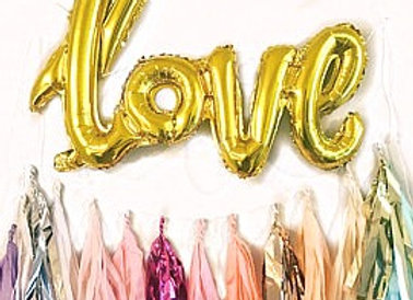LOVE metallic gold script balloon