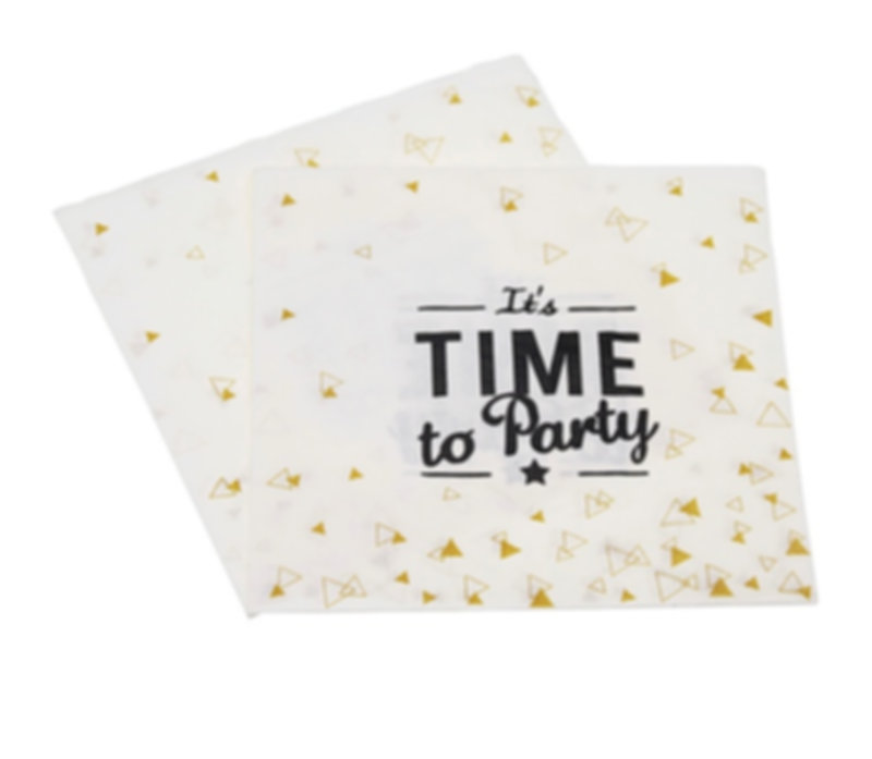 Its Time to party, napkins, gold foil napkins, wild one party supplies, new years party supplies, star party decorations, tableware, tablesettings, party packages, party kit, cheap disposable party supplies, christmas party ideas, new years party ideas, birthday party supplies, baby's 1st birthday, pink and gold party, black and gold party, cute napkins