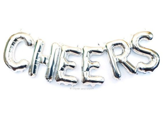 16 inch CHEERS Silver Letter Balloons 6pc lot