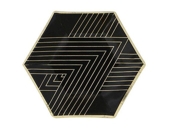 Black and Gold Diamond Dessert Paper Plates