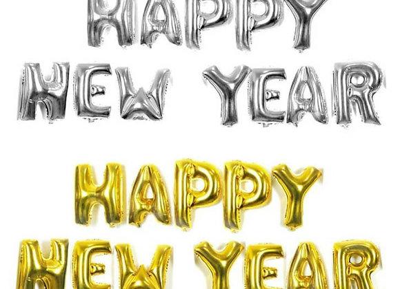 HAPPY NEW YEAR foil mylar helium Balloons 12pc lot