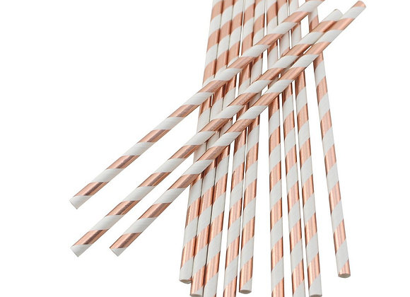 Rose Gold and White Striped Paper Straws 24ct
