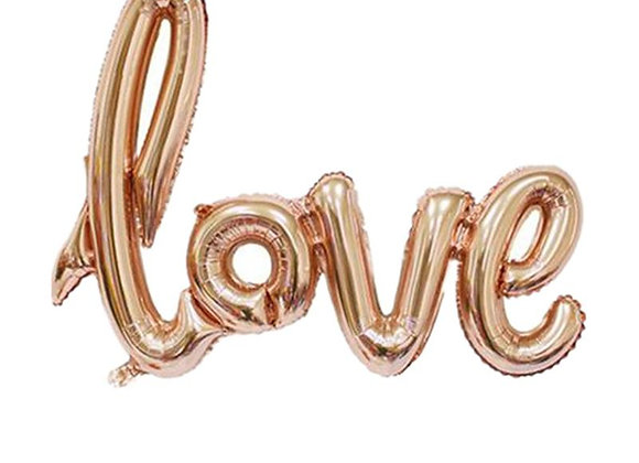 LOVE metallic rose gold script balloon