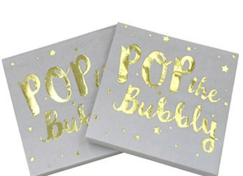 """Pop The Bubbly"" Sky White and Gold Lunch Napkins 8ct"