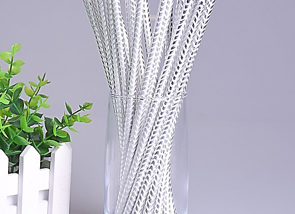 Metallic Silver Chevron Paper Straws 24ct