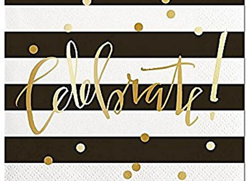 """Celebrate"" Black and Gold Lunch Napkins 8ct"