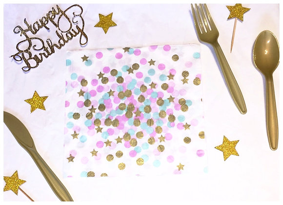 Purple and Egg Blue with Gold Star Confetti Dinner Napkins 8ct