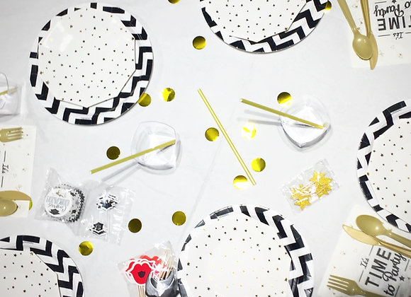 Gold & Black Star Smart Party Pack for 8 guests