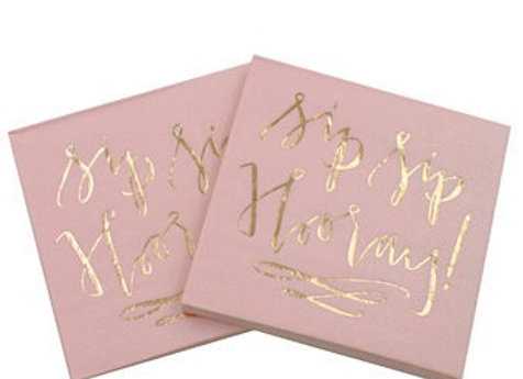 """Sip Sip Hooray"" Pink and Gold Lunch Napkins 8ct"