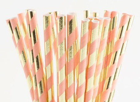 Blush Pink and Gold Striped Paper Straws 24ct