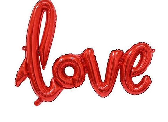 LOVE metallic Red script balloon