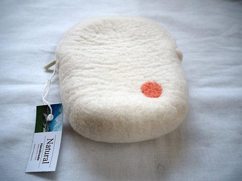 キルギス羊毛フェルト ポーチ サイズ/小 草木染め/無 ナチュラルホワイト(送料込み)