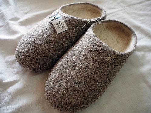 キルギス羊毛フェルト スリッパ サイズ/大 草木染め/無 ナチュラルグレイ