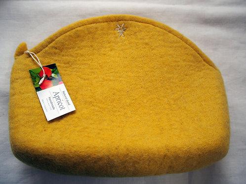 キルギス羊毛フェルト ポーチ サイズ/大 草木染め/アプリコット(送料込み)