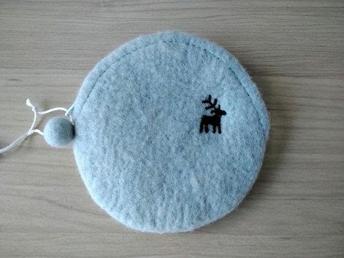 キルギス羊毛フェルト コインケース 草木染め/タイセイ(送料込み)