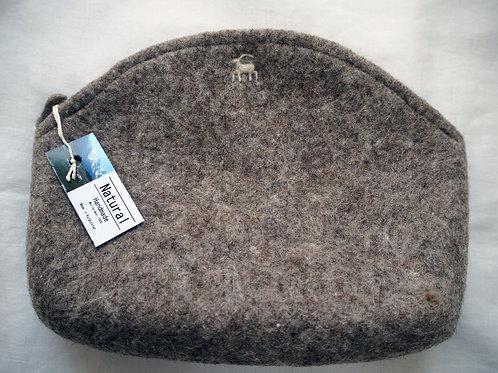 キルギス羊毛フェルト ポーチ サイズ/大 草木染め/無 ナチュラルグレイ