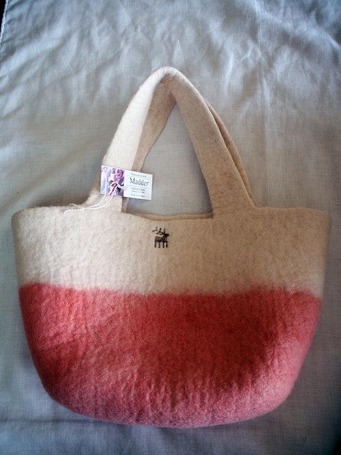 キルギス羊毛フェルト トートバッグ サイズ/小 草木染め/茜(送料込み)