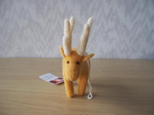 キルギス羊毛フェルト 動物マスコット 鹿S(送料込み)