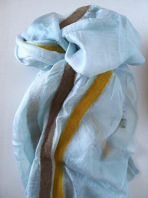 キルギス羊毛フェルト シルクスカーフ サイズ/大 草木染/タイセイ