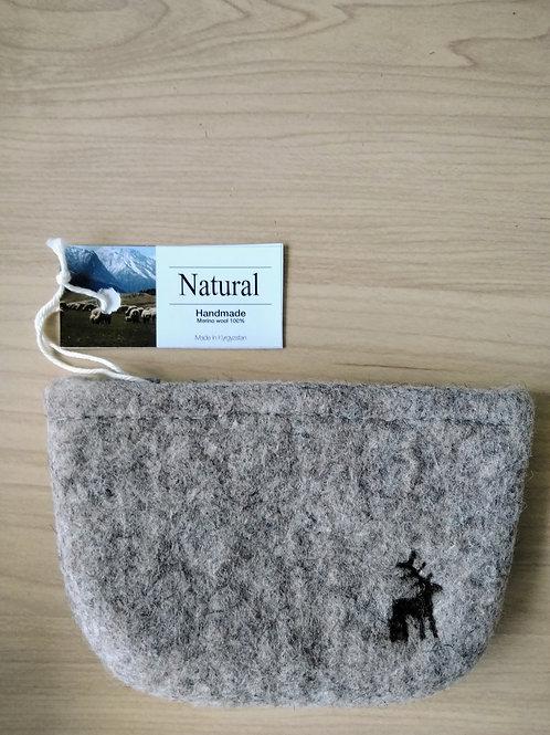 キルギス羊毛フェルト キーケース 草木染め/ナチュラルグレイ