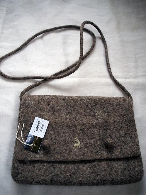 キルギス羊毛フェルト 肩掛けバッグ 草木染め/無 ナチュラルグレイ(送料込み)
