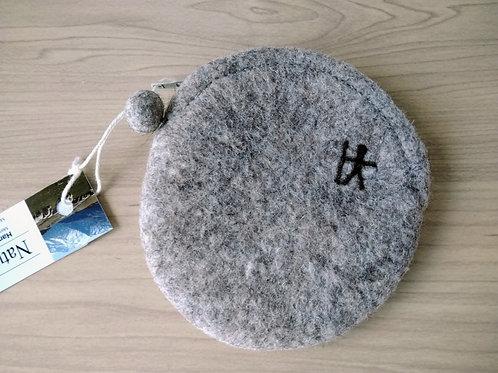 キルギス羊毛フェルト コインケース 草木染め/無 ナチュラルグレイ