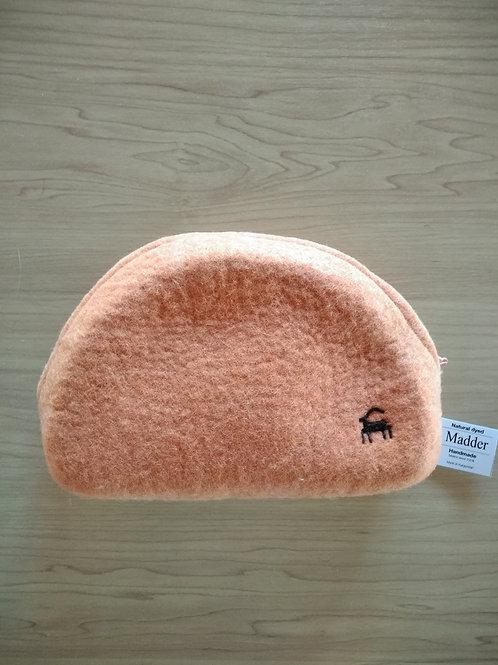 キルギス羊毛フェルト ポーチ サイズ/中 草木染め/茜