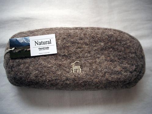 キルギス羊毛フェルト メガネケースⅡ 草木染め/無 ナチュラルグレイ