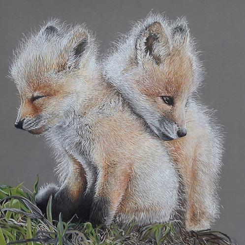 Fox cubs giclee print
