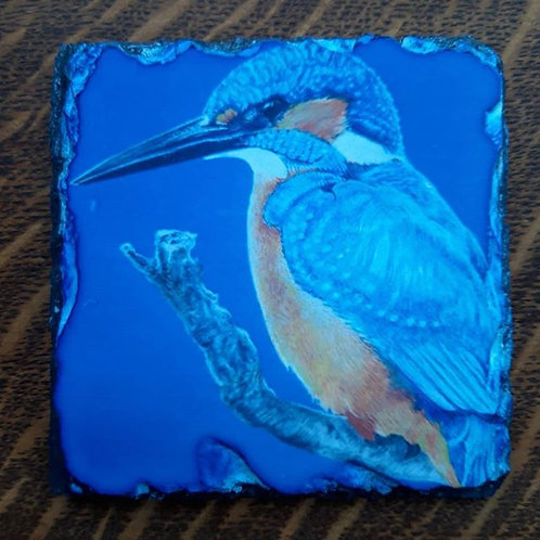 """Kingfisher"" Slate coaster"