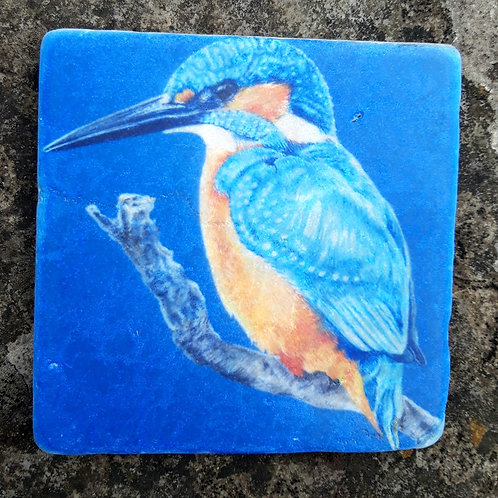 """ Blue "" kingfisher marble coaster"