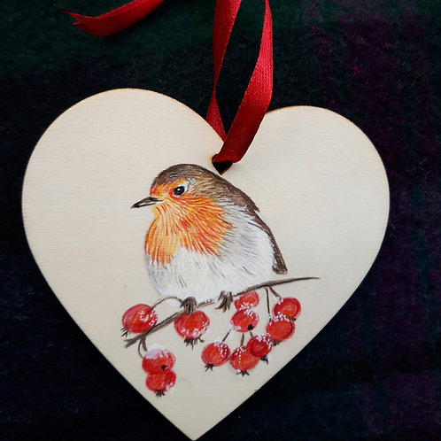 Hand painted wooden love heart