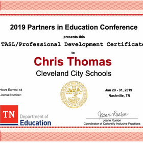 Thomas PIE 2019 Conference Attendance