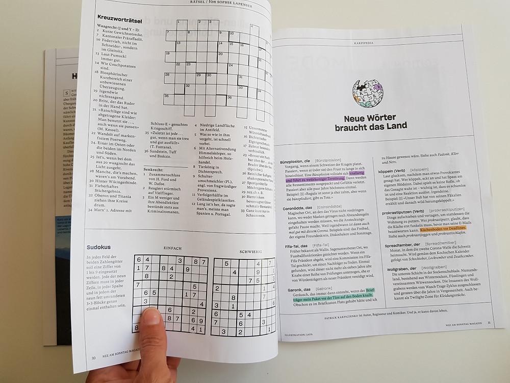 Neue Wörter braucht das Land: Meine neue Lieblingsrubrik des NZZ am Sonntag Magazins.