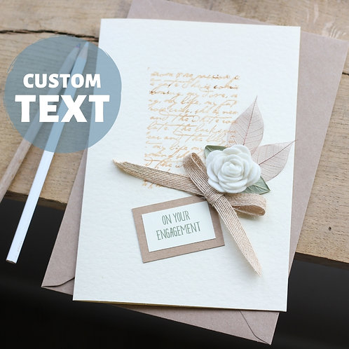Extra Special Engagement Card For Daughter, White Rose Modern Floral Design