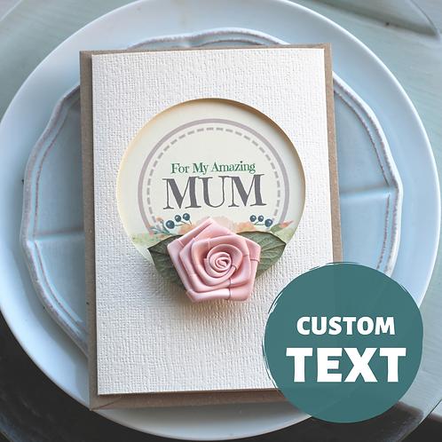Handmade Birthday Card, Shabby Chic Rose, Personalised Card From Daughter to Mum