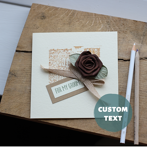 For My Groom On Our Wedding Day Card, Understated Timeless Elegance, Brown Rose