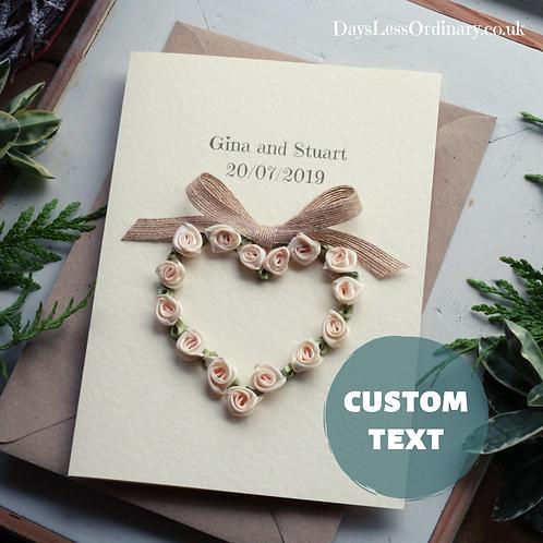 Personalised Wedding Congratulations Card, Custom Made Mr & Mrs Keepsake