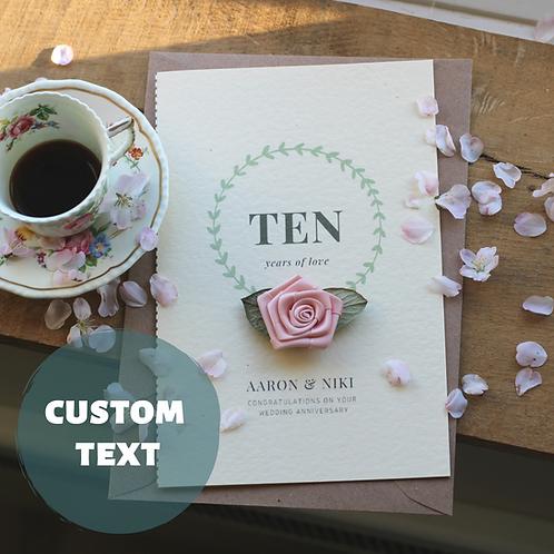 Handmade Anniversary Card, Personalised Keepsake, Pink Floral