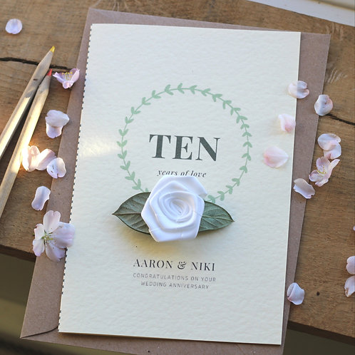 Personalised Anniversary Card Wife, Extra Special 10th Years Married Gift
