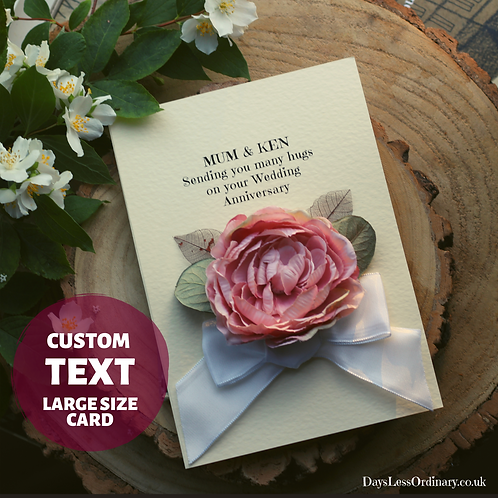 Luxury Wedding Anniversary Card, Handmade Card for Mum and Dad