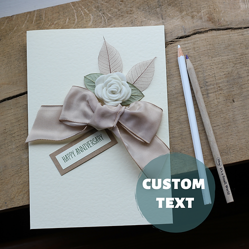Large Size Modern Anniversary Card, Personalised Text