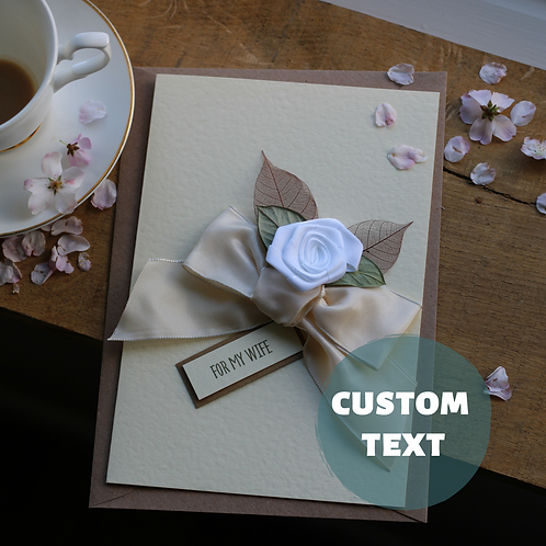 Handmade Anniversary Card, Luxury Gift For Wife, Elegant White Floral