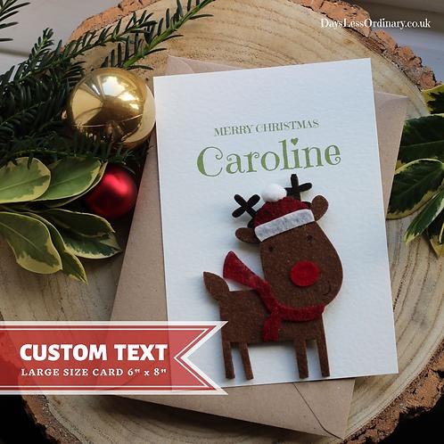 Funny Personalised Christmas Card, Handcrafted Santa Reindeer Keepsake Daughter