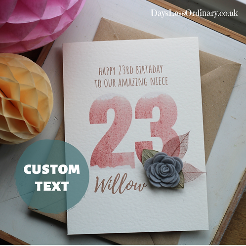 To My Amazing Daughter, 23rd Birthday Card, Personalised Numbers and Name