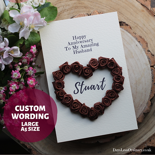 Luxury Handmade Anniversary Card For Him, Personalised Text