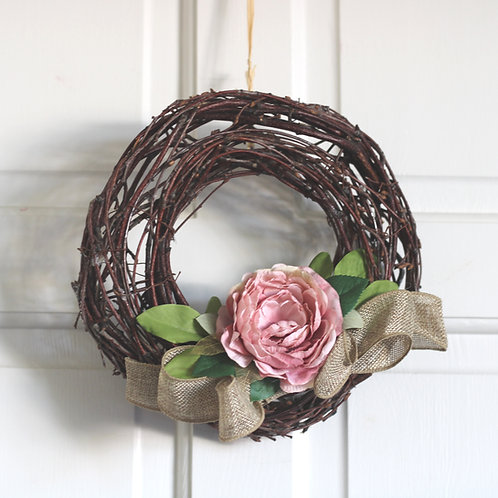 Rustic Handmade Wreath, Spring Shabby Chic Pink Peony